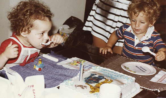Alex & Seth in 1984, celebrating Alex's 2nd birthday